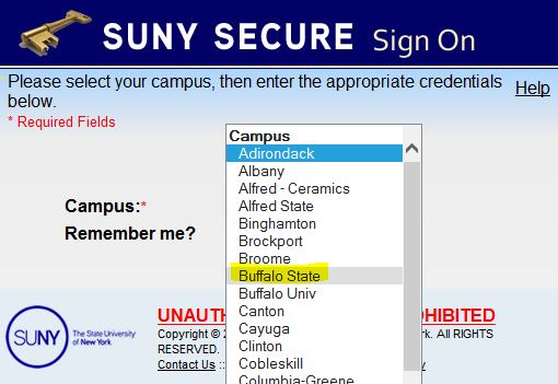 SUNY Login screen